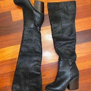 Aldo leather thigh high boot heel